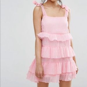 Missguided Tie Shoulder Tiered Ruffle Dress (ASOS)